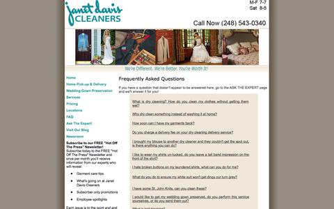 Screenshot of FAQ Page janetdaviscleaners.com - Dry Cleaning FAQ's - captured Oct. 6, 2014