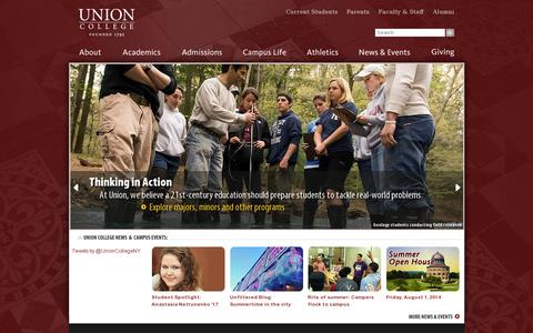 Screenshot of Home Page union.edu - Union College - captured July 17, 2014