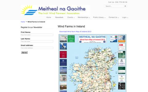 Screenshot of Maps & Directions Page mnag.ie - Wind Farms in Ireland    Meitheal na Gaoithe Irish Windfarmers Association - captured Feb. 11, 2016