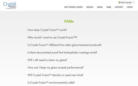Screenshot of FAQ Page cftproducts.com - FAQs - Crystal Fusion - captured Nov. 12, 2016
