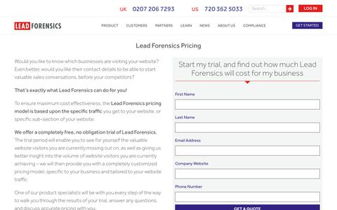 Screenshot of Pricing Page leadforensics.com - Lead Forensics Pricing | Find Out The Cost For Your Business - captured July 17, 2018