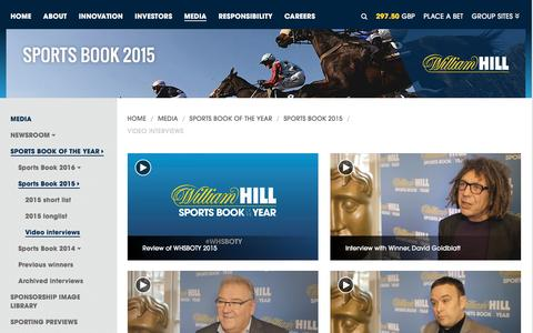 Screenshot of williamhillplc.com - William Hill PLC: Video interviews                 - Sports Book 2015                 - Sports Book of the Year                 - Media - captured Oct. 22, 2016