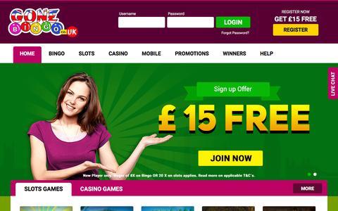 Screenshot of Home Page gonebingo.co.uk - Gone Bingo UK - Play Online Bingo Games, Ł15 Free No Deposit Bonus - captured Nov. 19, 2015