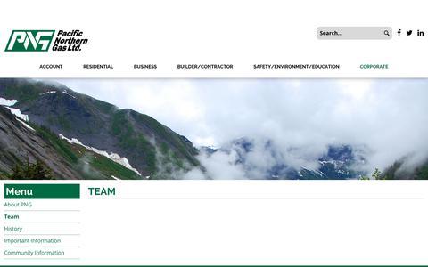 Screenshot of Team Page firstsahara.com - Pacific Northern Gas Ltd. - Team - captured Oct. 13, 2017