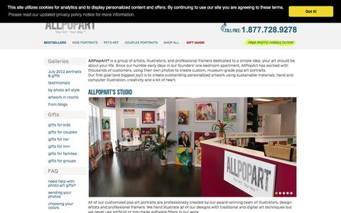 Screenshot of About Page allpopart.com - AllPopArt in the media, our design studio & the artists - captured Sept. 23, 2018