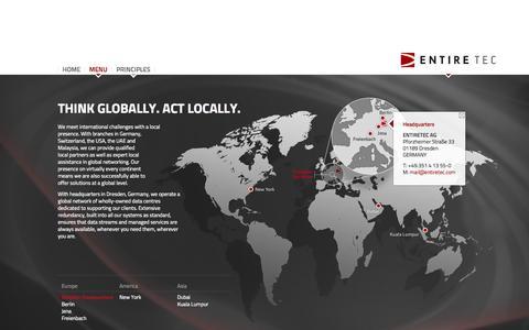 Screenshot of Contact Page entiretec.com - ENTIRETEC - Global Presence - captured Sept. 19, 2014