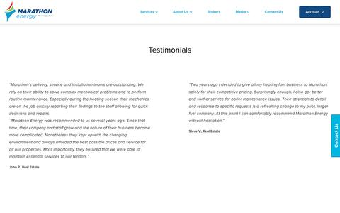 Screenshot of Testimonials Page mecny.com - Testimonials – Marathon Energy - captured Oct. 28, 2017