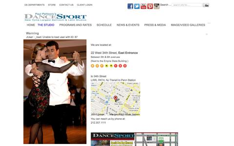 Screenshot of Contact Page Locations Page dancesport.com - Contact DanceSport | (212) 307-1111 | Manhattan, New York | General Info | Studio Info - captured Feb. 9, 2016
