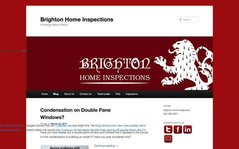 Screenshot of Blog brightonhi.com - Home Inspections news, articles, links and blog posts | Brighton Home Inspections - captured Oct. 5, 2014
