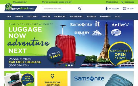 Screenshot of Home Page luggagedirect.com.au - Luggage Bags, Suitcases & Travel Luggage Online | Luggage Direct - captured July 18, 2016