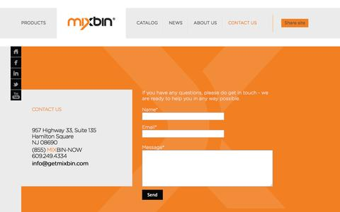 Screenshot of Contact Page getmixbin.com - contact us - MIXBIN - captured Oct. 1, 2014