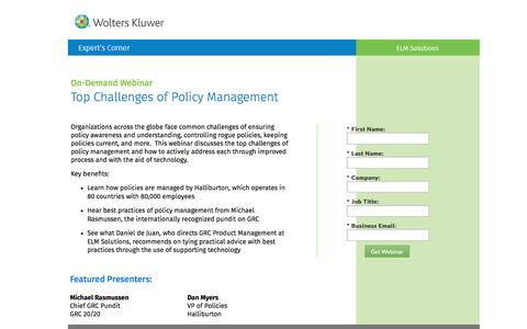 Screenshot of Landing Page datacert.com - Webinar: Top Challenges of Policy Management - captured Aug. 17, 2016