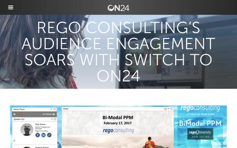 Screenshot of Case Studies Page on24.com - Case Study: Rego-Consulting   ON24 - captured Oct. 12, 2017