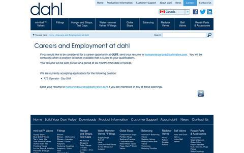 Screenshot of Jobs Page dahlvalve.com - Careers and Employment at dahl   Dahl Valve Limited - captured Oct. 25, 2018