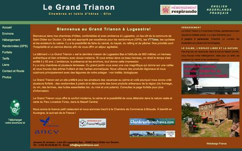 "Screenshot of Home Page legrandtrianon.com - Chambre & table d'hôtes ""Le Grand Trianon"" Accueil - captured Sept. 29, 2014"