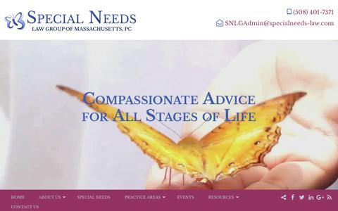 Screenshot of Home Page specialneeds-law.com - Find Peace With Trusted Special Needs Counsel at SNLGM, PC - captured Oct. 18, 2018