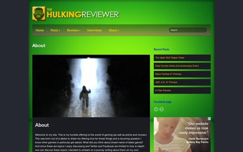 Screenshot of About Page hulkingreviewer.com - About - Hulking Reviewer - captured April 30, 2016