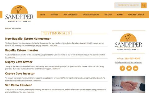 Screenshot of Testimonials Page yoursandpiperrealty.com - Testimonials | Sandpiper Realty & Management, LLCSandpiper Realty and Management, LLC - captured Nov. 18, 2016