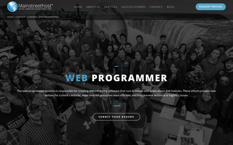 Screenshot of Jobs Page mainstreethost.com - Web Programmer in Buffalo, NY | Career Opportunities at Mainstreethost - captured Oct. 23, 2016