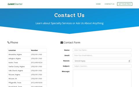 Screenshot of Contact Page lawnstarter.com - Contact Us | LawnStarter.com - captured July 19, 2014