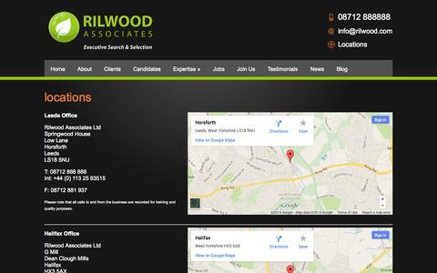 Screenshot of Contact Page Locations Page rilwood.com - Locations | Leeds, Halifax & London  | Rilwood Associates - captured Oct. 26, 2014