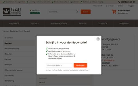 Screenshot of Contact Page tezet.nl - Contact - captured May 28, 2016