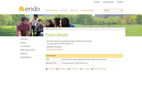 Screenshot of endo.com - Endo | Events - captured March 20, 2016