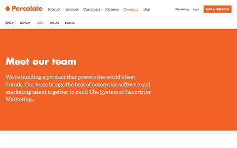 Screenshot of Team Page percolate.com - Percolate | Our Team - captured Dec. 9, 2016