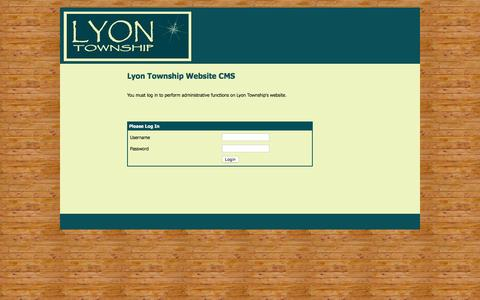 Screenshot of Login Page lyontwp.org - Welcome to Lyon Township - captured Feb. 2, 2016