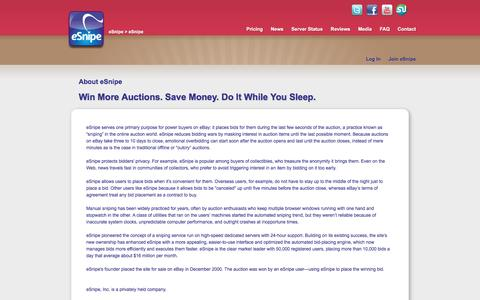 Screenshot of About Page esnipe.com - eSnipe Auction Sniper: Win More Auctions. Save Money. Do it While You Sleep - captured May 23, 2017