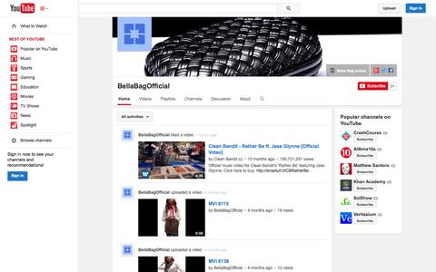 Screenshot of YouTube Page youtube.com - BellaBagOfficial  - YouTube - captured Oct. 30, 2014