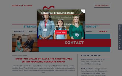Screenshot of Contact Page texascasa.org - Contact Texas CASA - captured Nov. 9, 2017