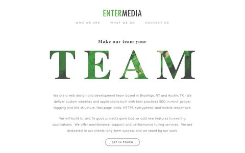 Screenshot of Home Page entermedia.com - Custom Websites and Applications | Austin & New York | Entermedia, LLC - captured June 18, 2018