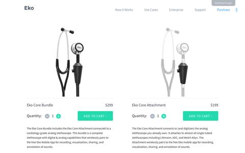 Screenshot of ekodevices.com - Purchase Eko Core - Electronic Stethoscope - captured March 19, 2016