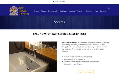 Screenshot of Services Page jeffshafferplumbing.com - Services | Jeff Shaffer Plumbing - captured March 15, 2016
