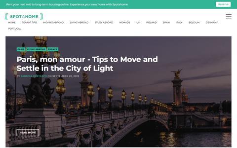 Screenshot of Blog spotahome.com - The Spotahome Blog - Experience your new home! - captured Nov. 16, 2019