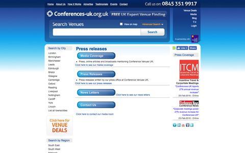 Screenshot of Press Page conferences-uk.org.uk - Media Coverage Home | Conference Venues UK - captured July 15, 2016