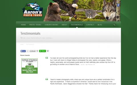 Screenshot of Testimonials Page aaronstours.com - Testimonials | Wildlife Photography Tours and Workshops - captured Oct. 4, 2014