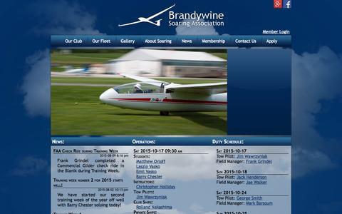 Screenshot of Home Page brandywinesoaring.org - Brandywine Soaring Assocation - captured Oct. 16, 2015