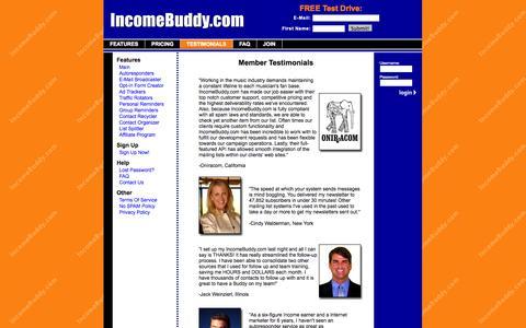 Screenshot of Testimonials Page incomebuddy.com - Member Testimonials - IncomeBuddy.com - captured Oct. 6, 2014