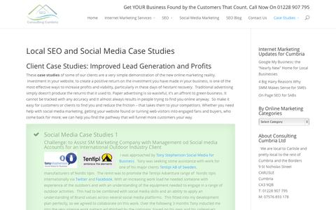 Screenshot of Case Studies Page consultingcumbria.co.uk - Local SEO and Social Media Case Studies - captured Oct. 2, 2014