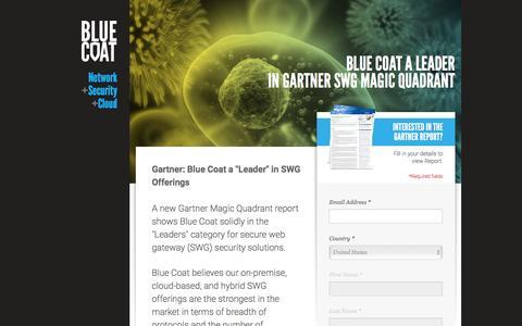 Screenshot of Landing Page bluecoat.com - Blue Coat - captured Feb. 13, 2016