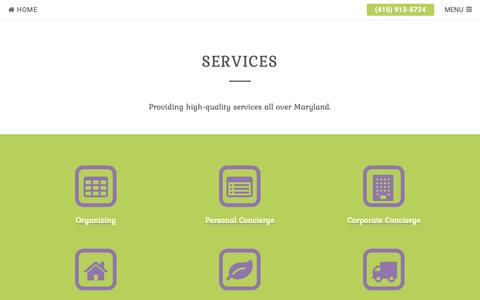 Screenshot of Services Page typeahome.com - Services | Type A Home Concierge - captured Oct. 18, 2018