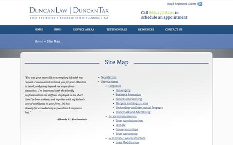 Screenshot of Site Map Page duncanlawcorp.com - Site Map | Duncan Law | Duncan Tax - captured Oct. 5, 2014