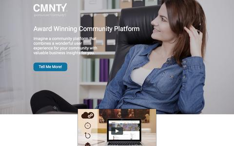 Screenshot of Landing Page cmnty.com - Community Platform - captured Oct. 16, 2016