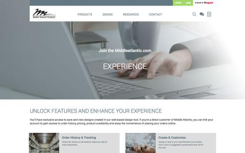 Screenshot of Signup Page middleatlantic.com - Join the Middleatlantic.com Experience | Middle Atlantic - captured Sept. 24, 2018