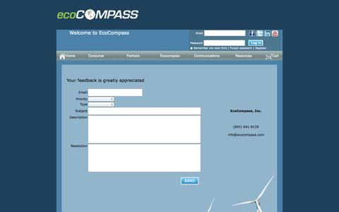 Screenshot of Support Page ecocompass.com - EcoCompass - Green technology marketplace helping to navigate energy independence - captured Oct. 1, 2014