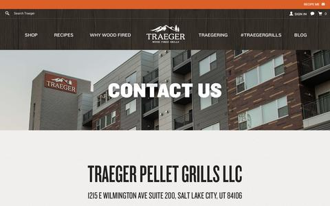 Screenshot of Contact Page traegergrills.com - Sites-Traeger-Site - captured Nov. 18, 2015