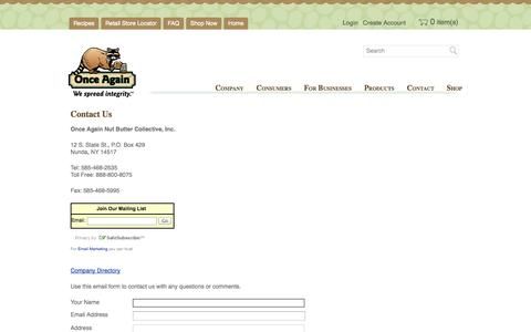 Screenshot of Contact Page onceagainnutbutter.com - Contact Us   Once Again Nut Butter - captured Oct. 7, 2014