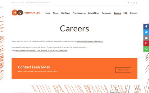 Screenshot of Jobs Page marrawahlaw.com.au - Careers - Marrawah Law - captured July 19, 2018